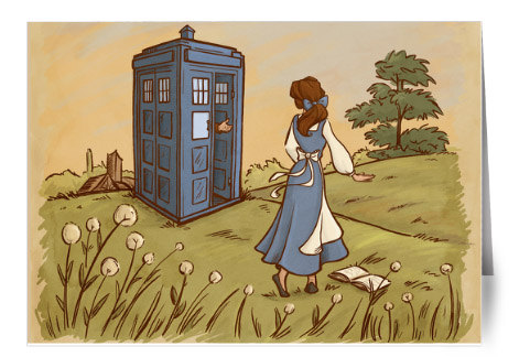 Disney princesses in the presence of TARDIS, the time travel machine featured in the cult classic Doctor Who.