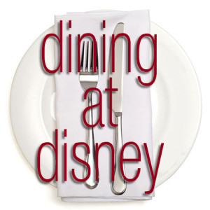 Dining at Disney plate with text