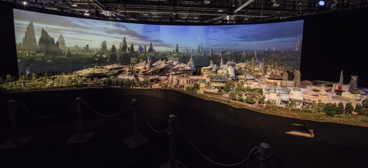 Guests Enjoy A First Look At Star Wars Themed Land Model During D23 Expo 2017
